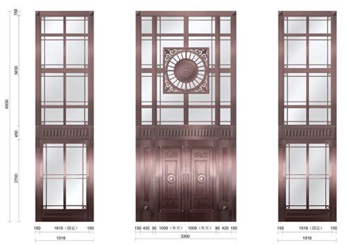 铜门窗效果图