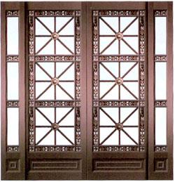 铜门双扇带边窗