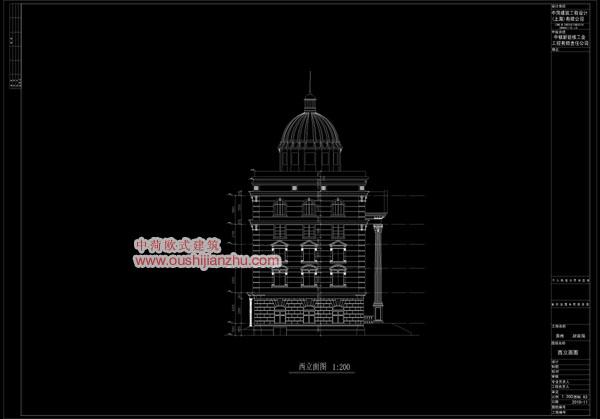 欧式风格办公楼侧立面设计