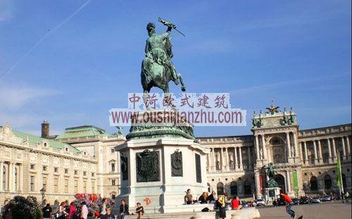奥地利维也纳新霍夫堡皇宫前雕塑