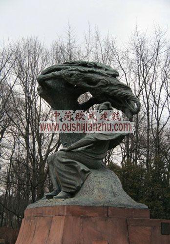 波兰华沙拉赞基公园肖邦雕像