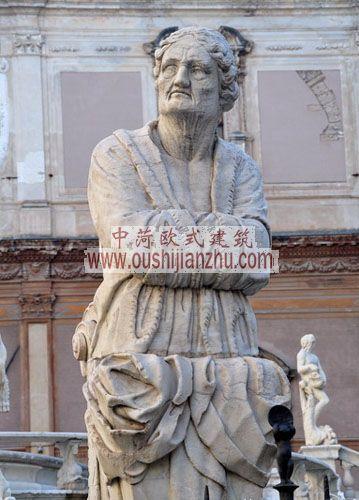 意大利西西里马勒莫普雷托里亚喷泉雕像