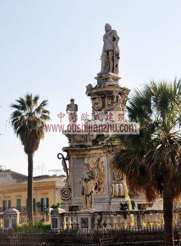 意大利西西里马勒莫诺曼王宫外雕塑