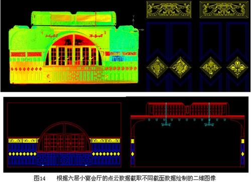 根据六层小宴会厅的点云数据截取不同截面数据的二维图像