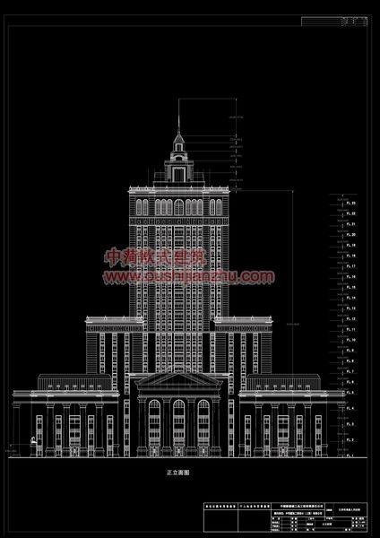 欧式建筑-法院正立面图