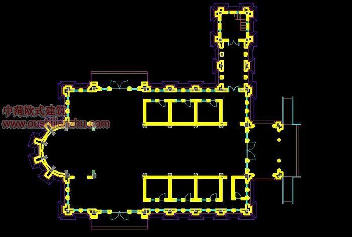 天主教堂一层平面图