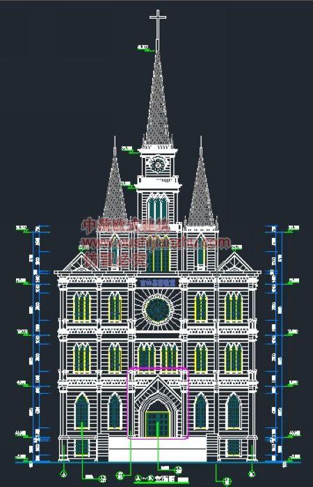 官林基督教堂正立面图