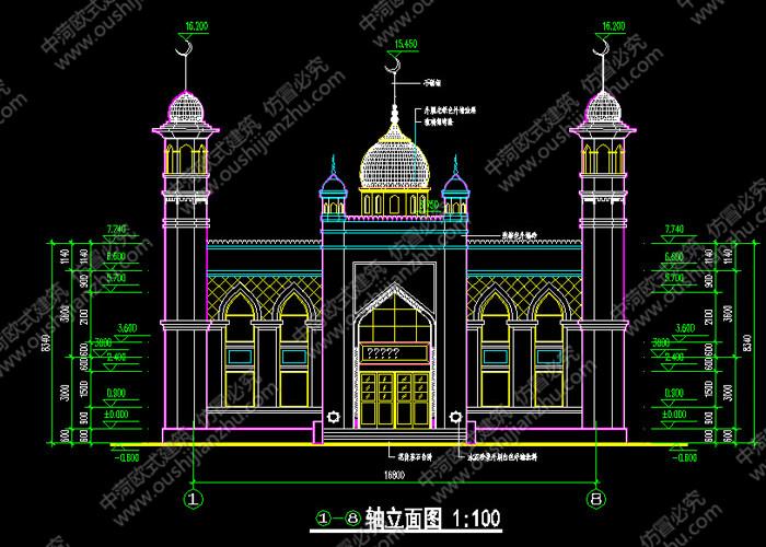 安徽清真寺方案图正面